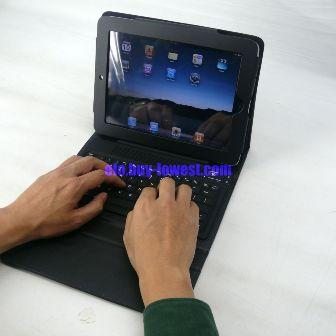 iPad Bluetooth Keyboard with folding leather protective case - Typing