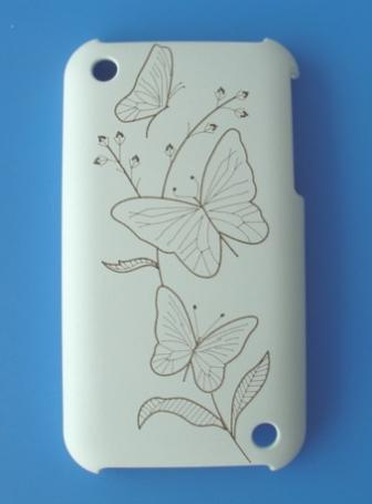 iPhone 3G/3GS Protective Back Case - White Leather (Butterfly)